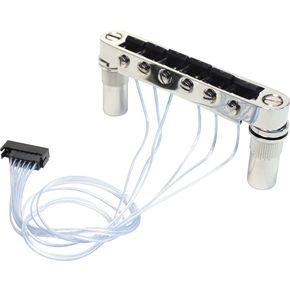 PN-8863-C0 - Ponte fisso tipo T-O-M con selle PIEZO per chitarra elettrica - Cromato
