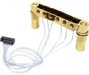 PN-8863-G0 - Ponte fisso tipo T-O-M con selle PIEZO per chitarra elettrica - Dorato